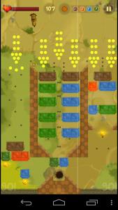 Patalla del videojuego con varios obstaculos